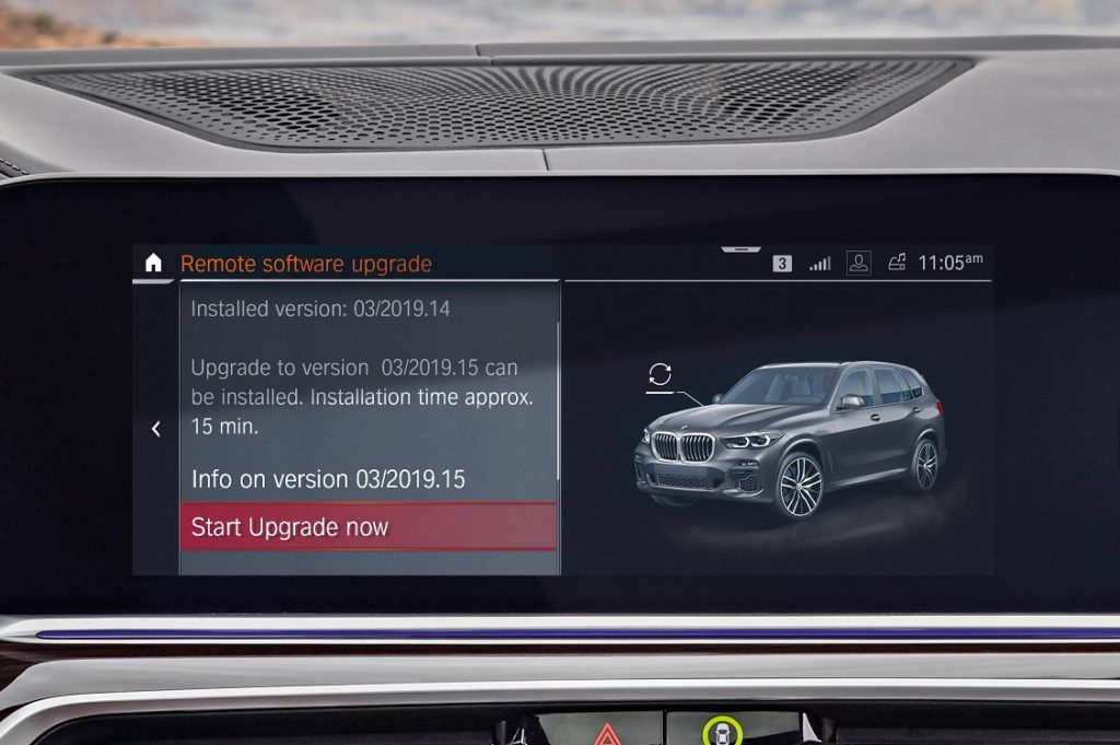 Vista del menú de actualización remota de BMW