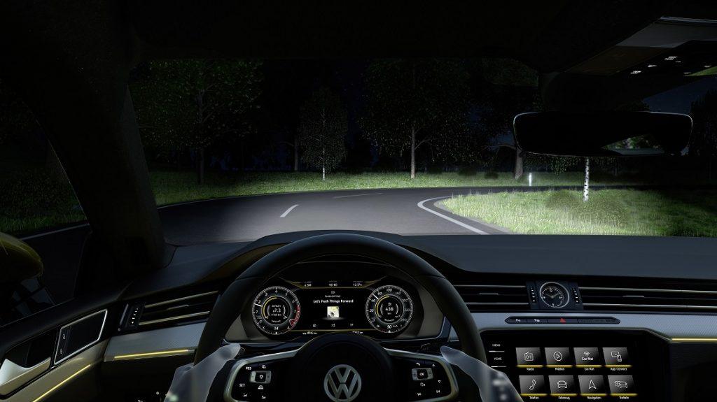 Detalle ilustrativo del sistema de iluminación inteligente del VW Arteon visto desde el puesto de conducción