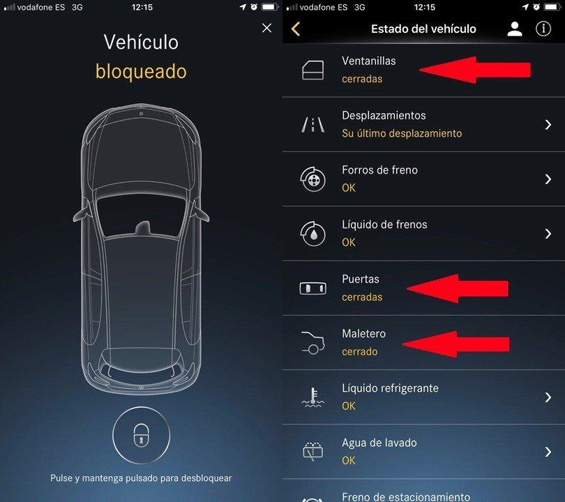 Capturade pantalla de la aplicación de un coche