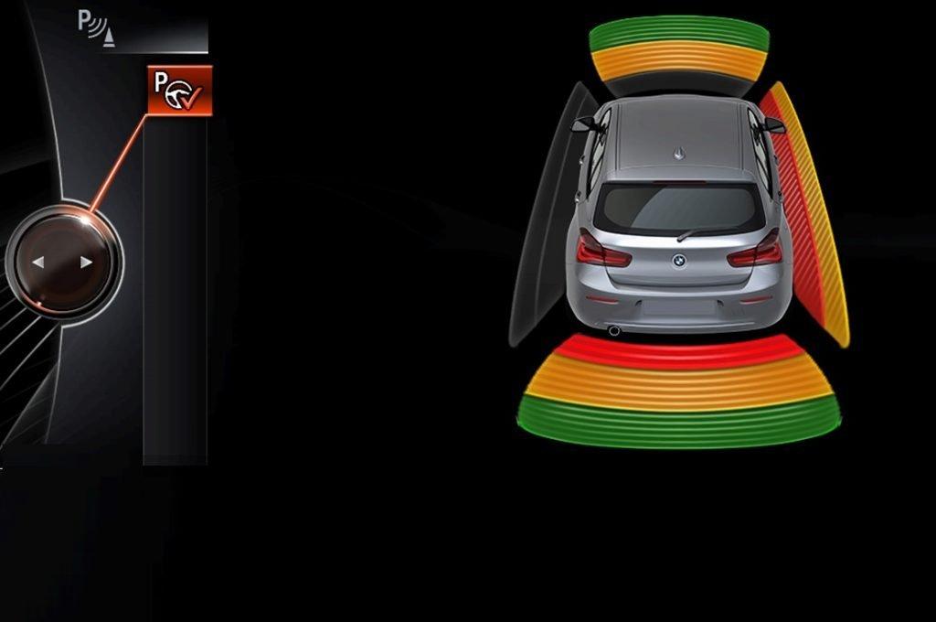Imagen del sistema de ayuda al aparcamiento con código de colores