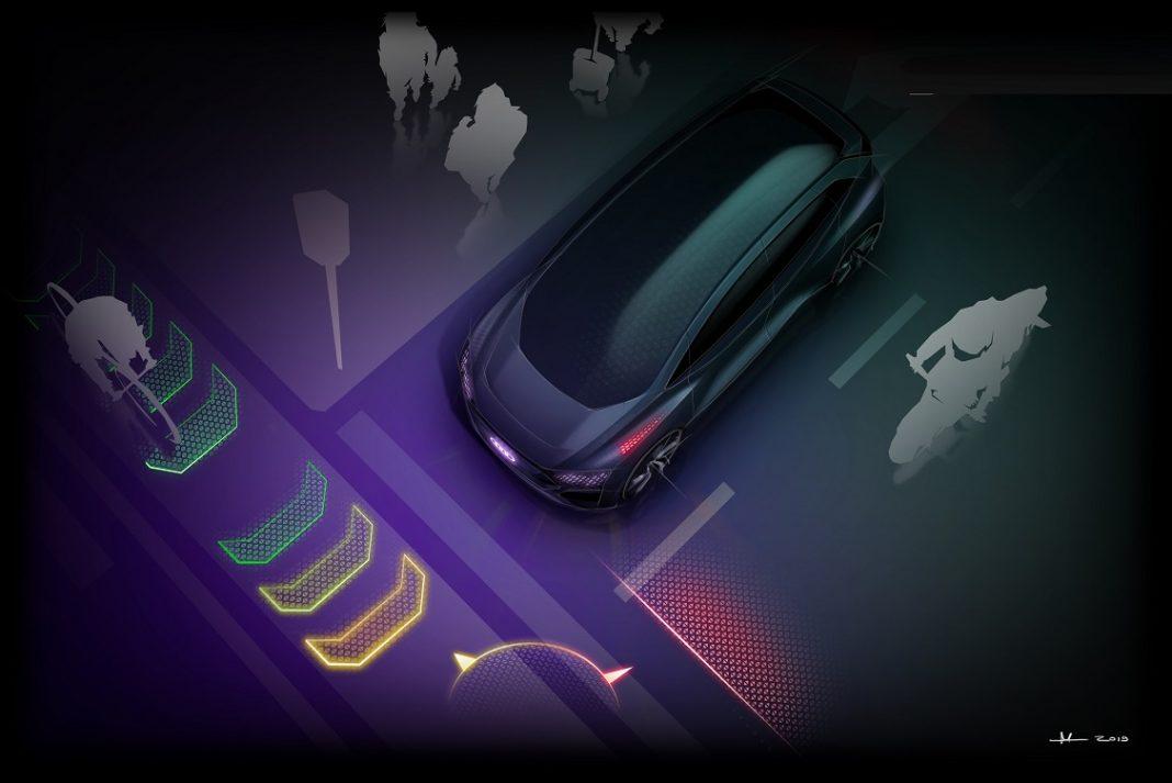 Imagen de un coche inteligente comprobando el entorno