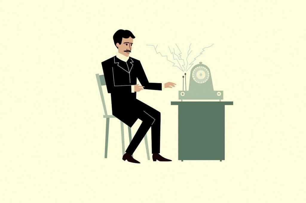 Ilustración de un inventor delante de su nueva máquina