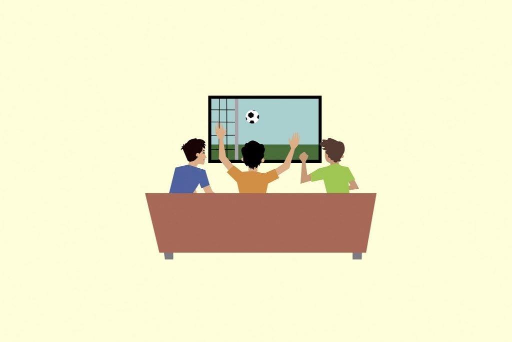 Ilustración de un grupo de amigos viendo la televisión