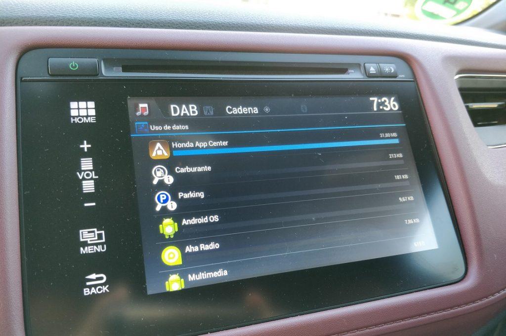 Imagen que muestra las aplicaciones instaladas en el sistema multimedia del Honda HRV.