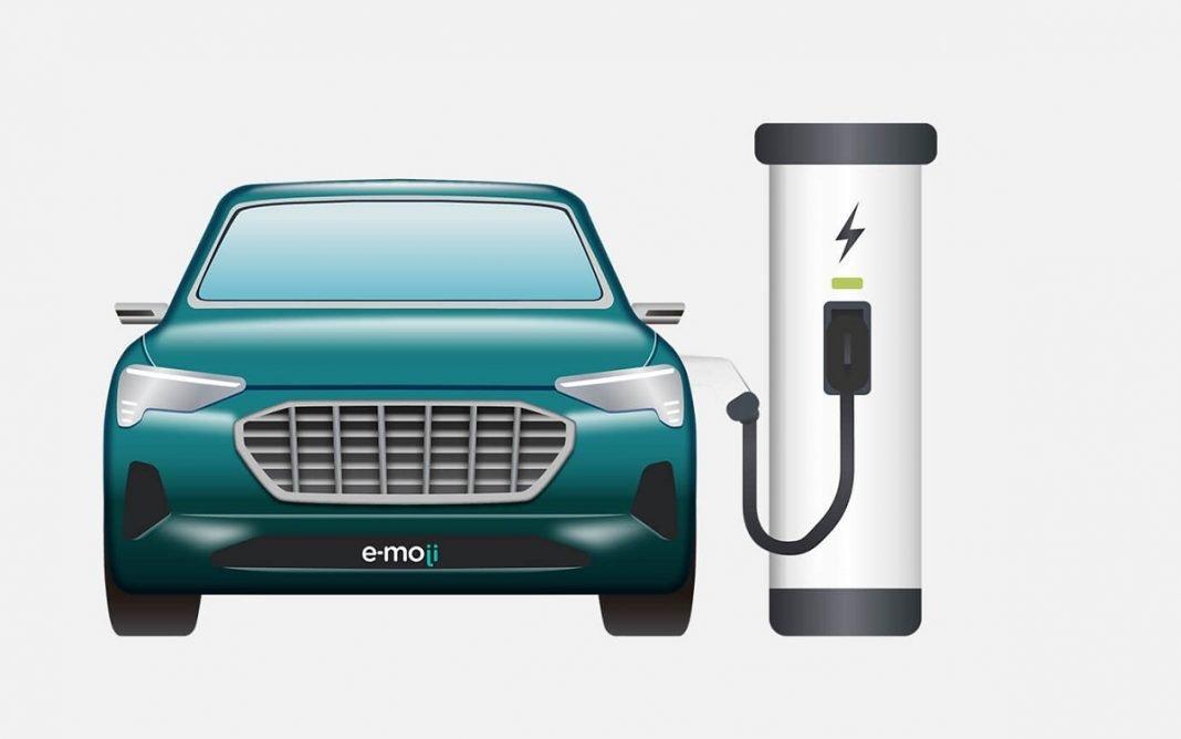 Emoticono de un coche eléctrico