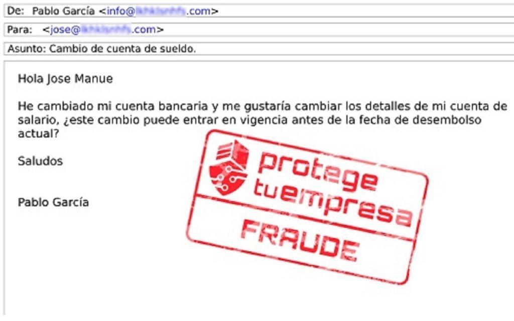 EJemplo de correo falso que busca suplantar la identidad
