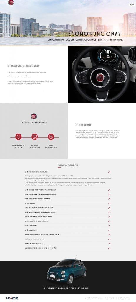 Imagen del proceso de renting online de Fiat