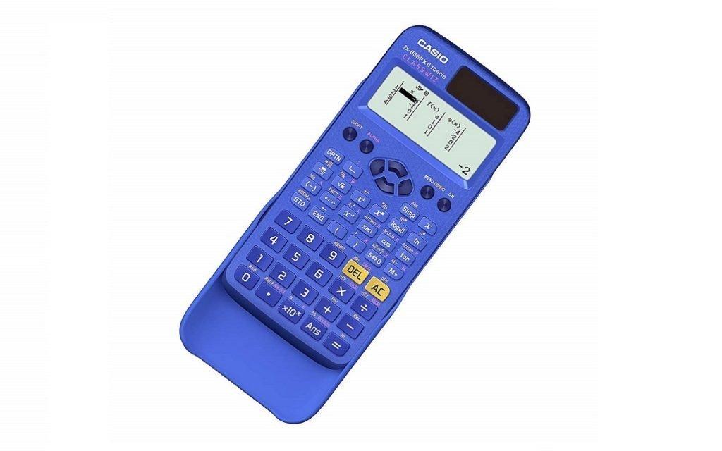 Imagen de una calculadora de Casio de color azul