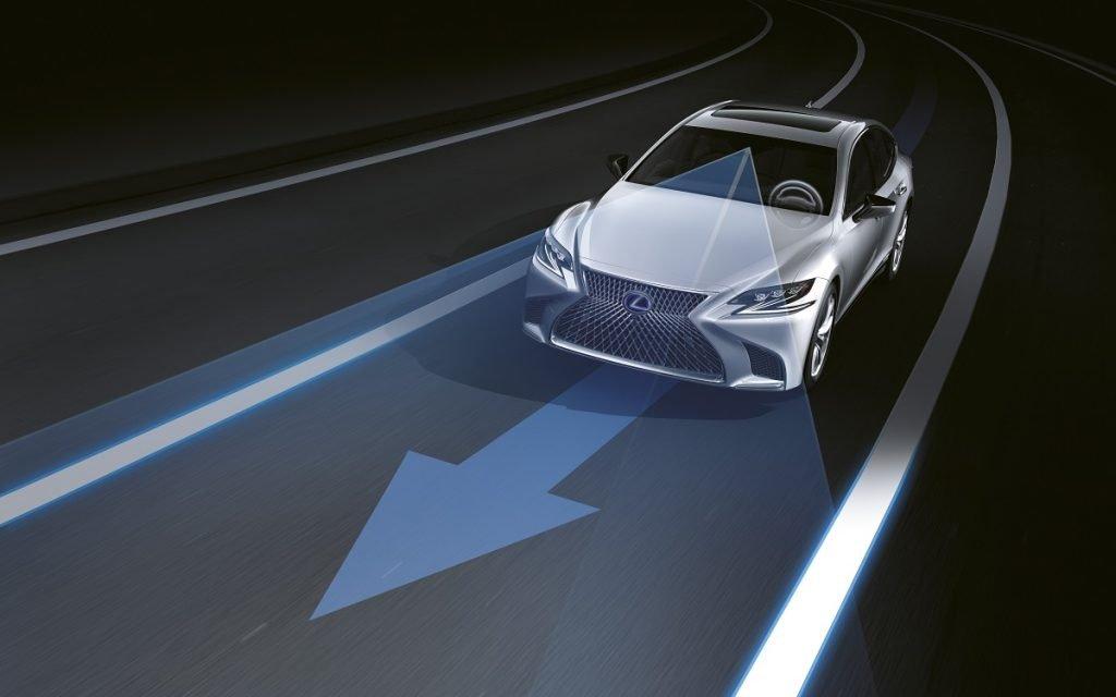 Ilustración del sistema de mantenimiento de carril de Lexus