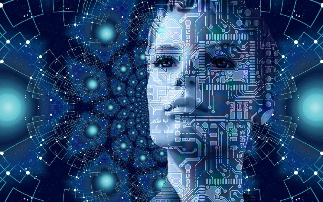 Imagen artística de una mujer tecnológica