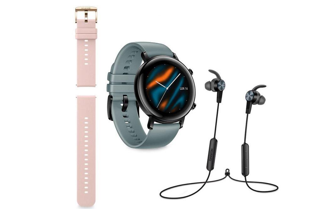 Imagen del nuevo modelo de reloj inteligente de Huawei, con accesorios como los auriculares