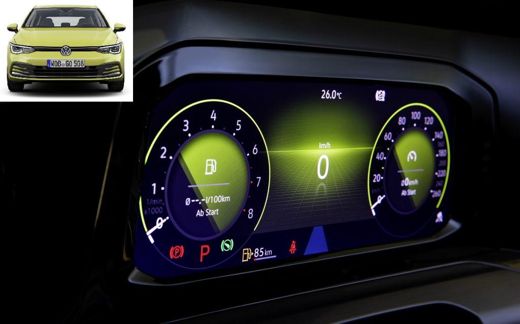Imagen de la nueva instrumentación del VW Golf 8.