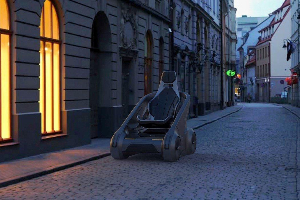 Vehículo eléctrico Alexander Zhukovsky tres cuartos frontal