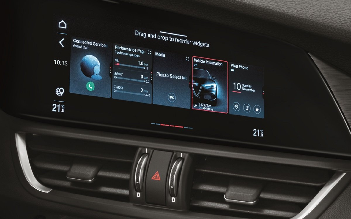 Imagen del nuevo sistema multimedia del Alfa Giulia 2020