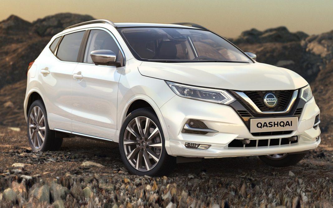 Imagen de un Nissan Qashqai Q-Line de color blanco tres cuartos delantero