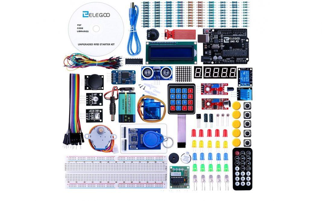 Imagen de todos los componentes que forman parte del Kit Arduino Elegoo