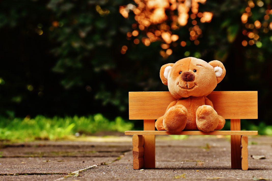 Un osito de peluche está sentado en un mini banco de madera dentro de un parque