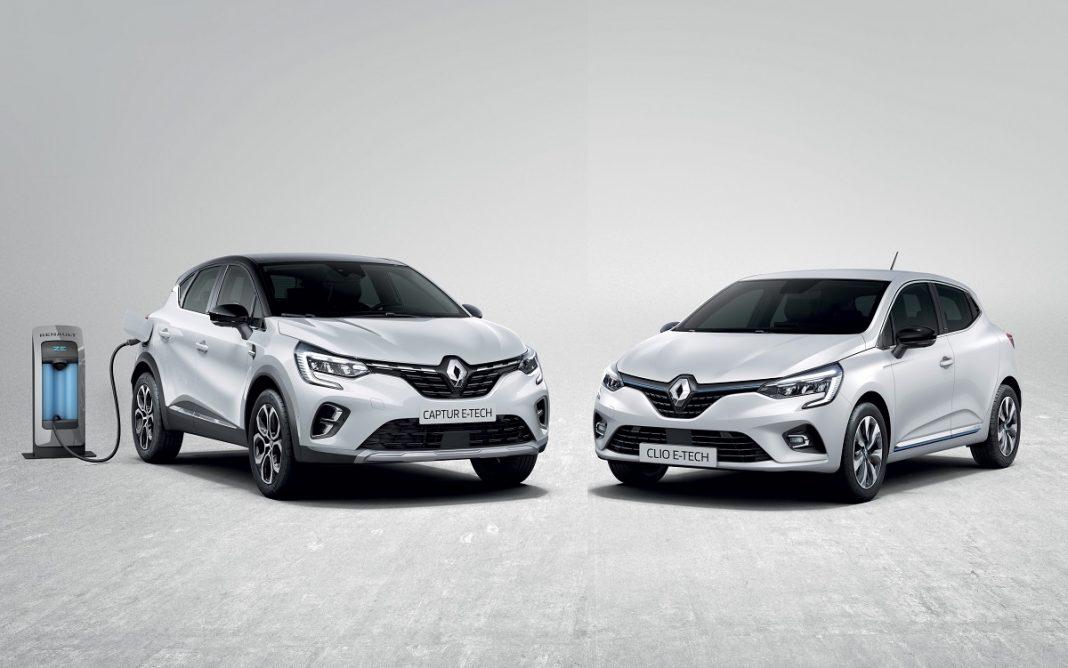 Imagen en estudio de un Renault Clio y Captur híbridos