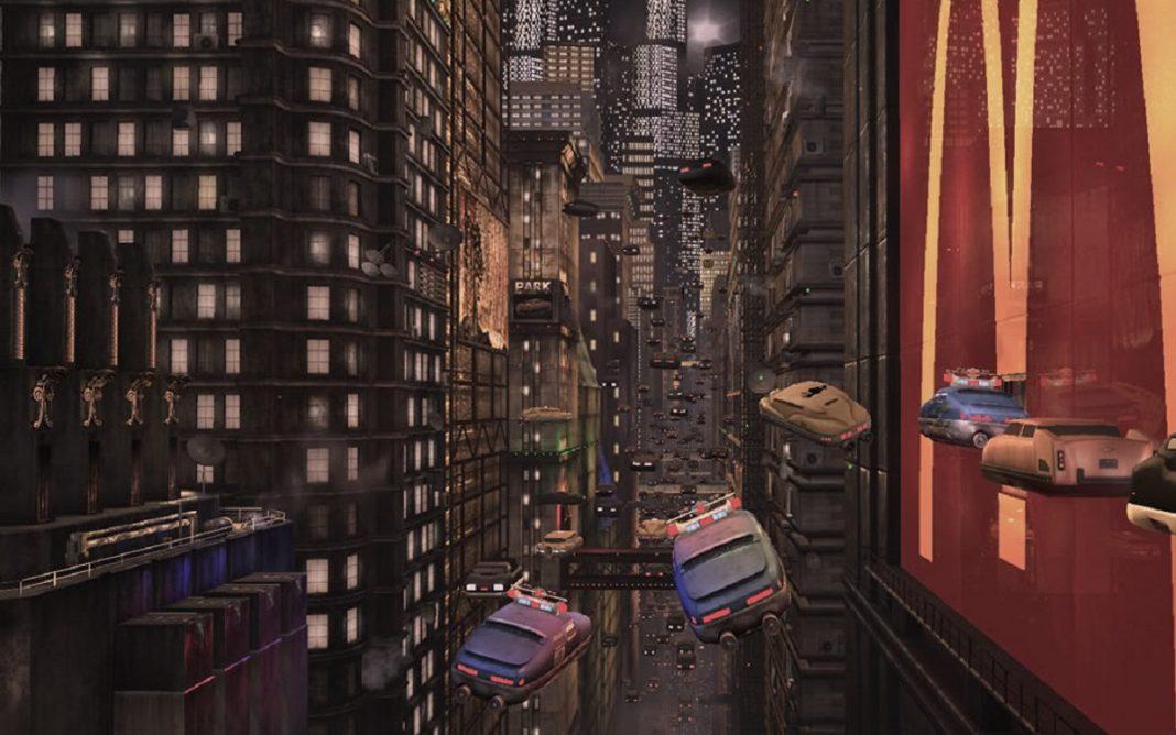 Imagen de unos coches voladores en una ciudad futurista