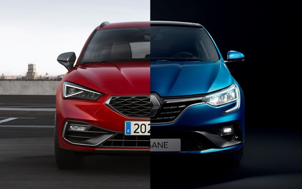 Montaje en el que se ven los frontales de un Seat León y un Renault Mégane.