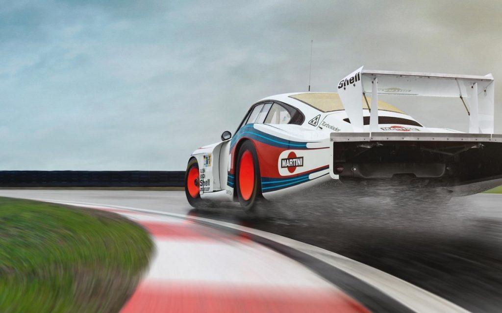 Parte trasera del Porsche 935 'Moby Dick' en circuito