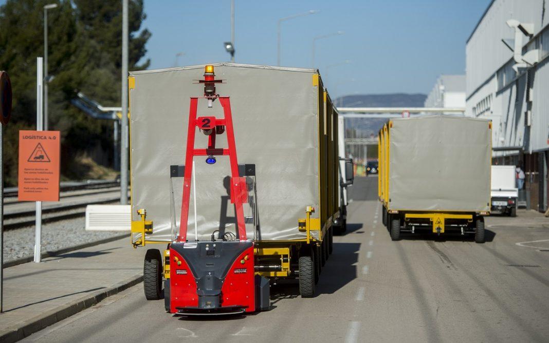 Imagen de los Seat Robots AGV trabajando