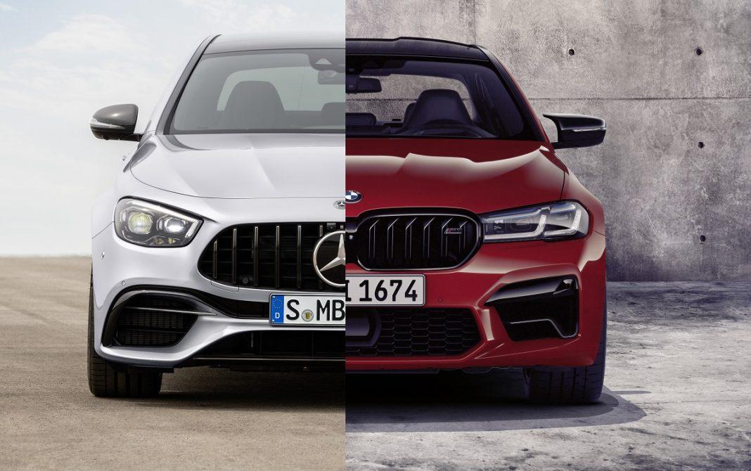 Imagen frontal de un BMW M5 y un Mercedes E63 AMG