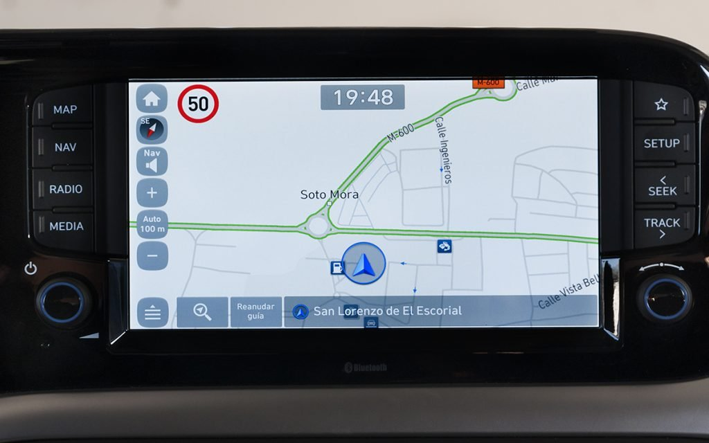 mapa del navegador en el Hyundai i10