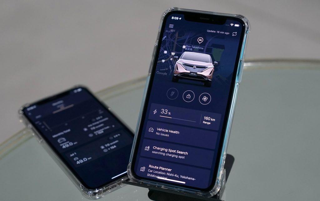 Imagen de la app móvil del Nissan Ariya