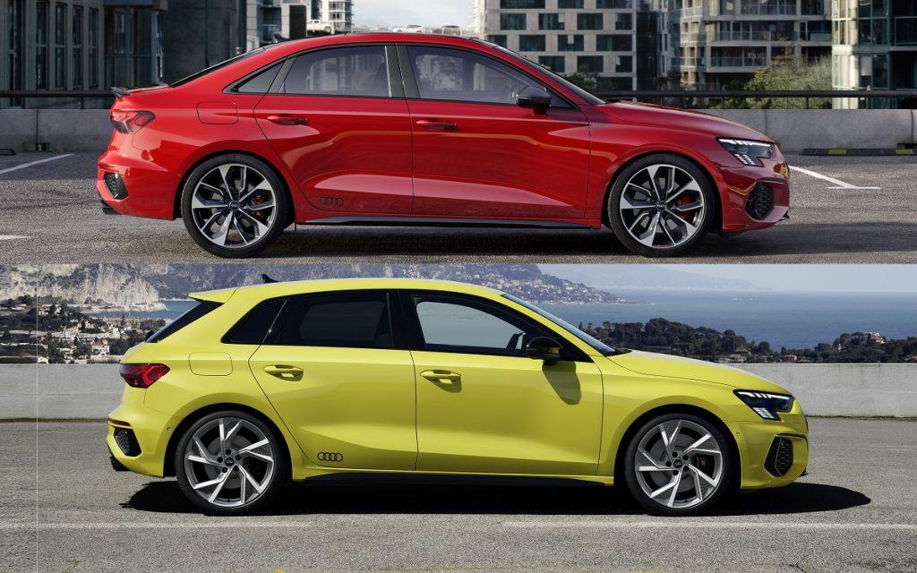 Imagen de perfil de un Audi S3 de color amarillo y un Audi S3 sedán de color rojo
