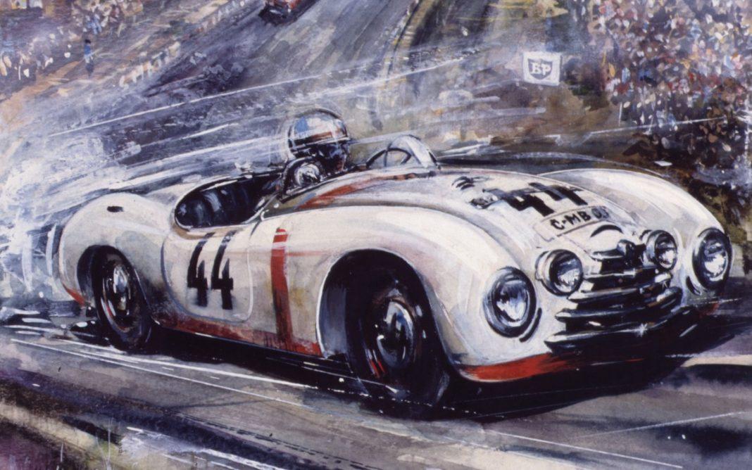 Pintura que retrata al Skoda 1101 Sport en Le Mans