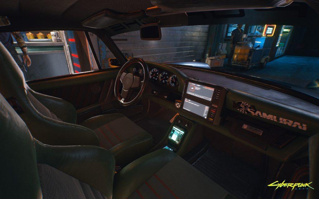 Interior del Porsche 911 que aparece en Cyberpunk 2077