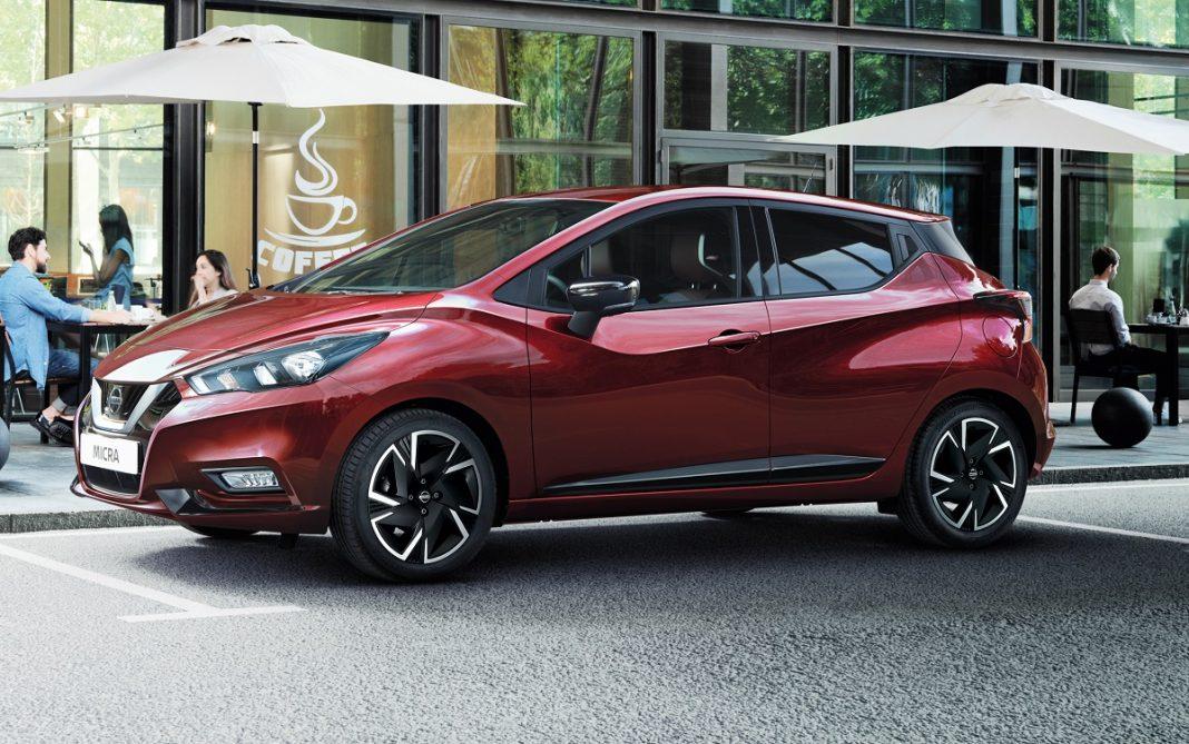Imagen Nissan Micra tres cuartos delantero de color rojo