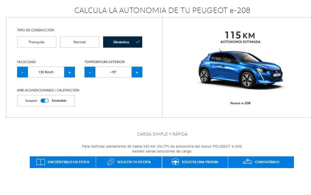 autonomía Peugeot e-208