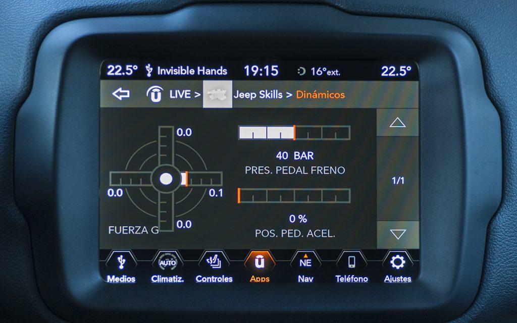 Fuerzas G en la app Jeep Skills del Jeep Renegade
