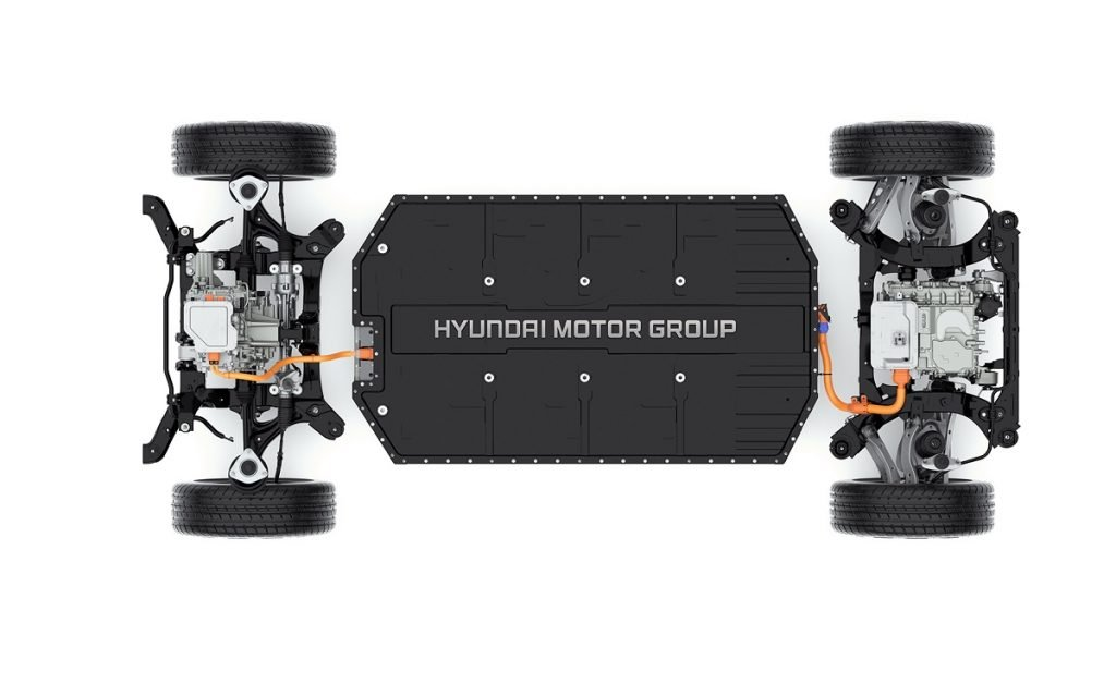 Vista superior de la nueva plataforma de coches electricos de Hyundai