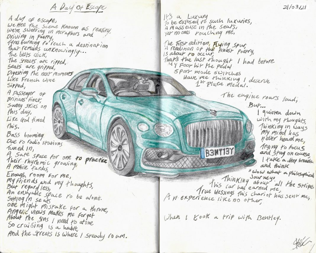 Manuscrito de un poema inspirado en el Bentley Flying Spur