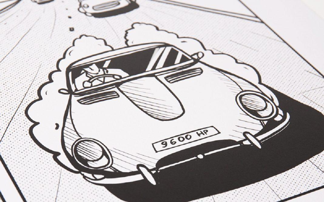 Grabado del primer Jaguar E-Type