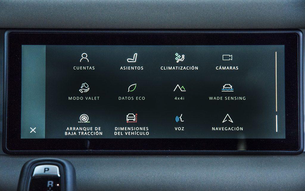 Menú de funciones del Land Rover Defender