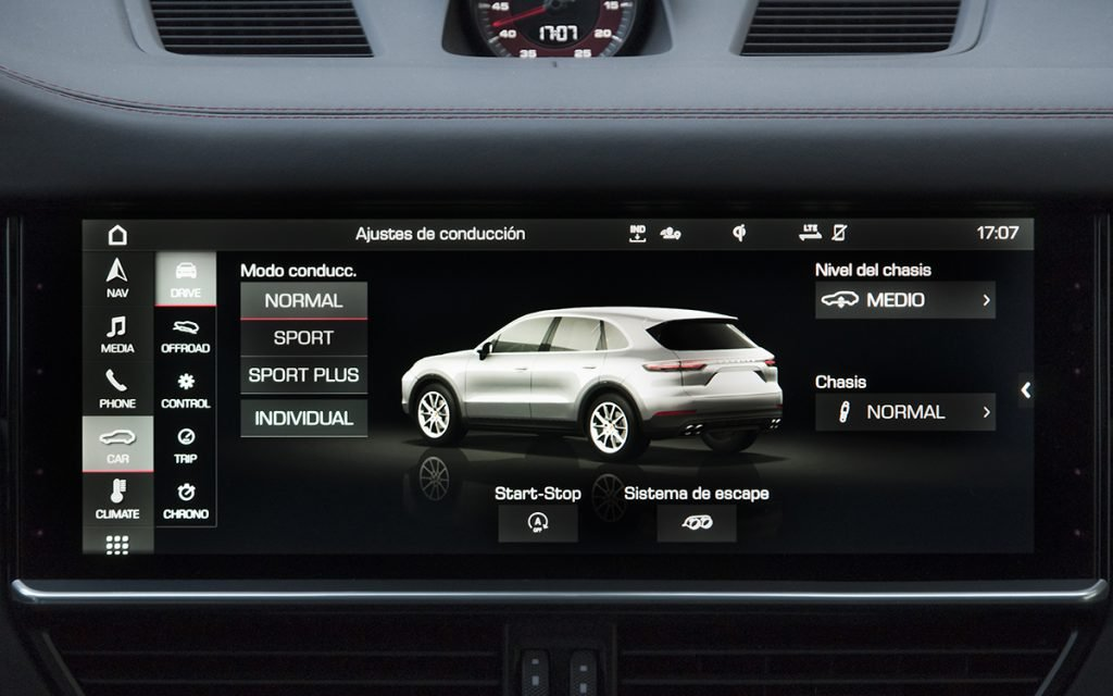 Menú de modos de conducción del Porsche Cayenne GTS