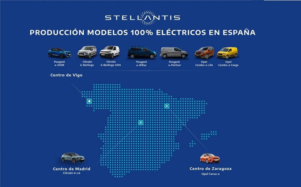 Mapa de modelos eléctricos de Stellantis fabricados en España