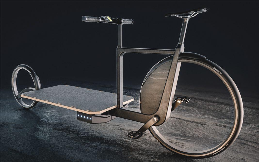 Bicicleta de carga eléctrica LARA tres cuartos frontal